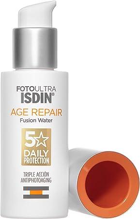 ISDIN FotoUltra Age Repair Fusion Water SPF 50 50 ml, fotoprotector facial de fase acuosa, triple acción anti-fotoenvejecimiento