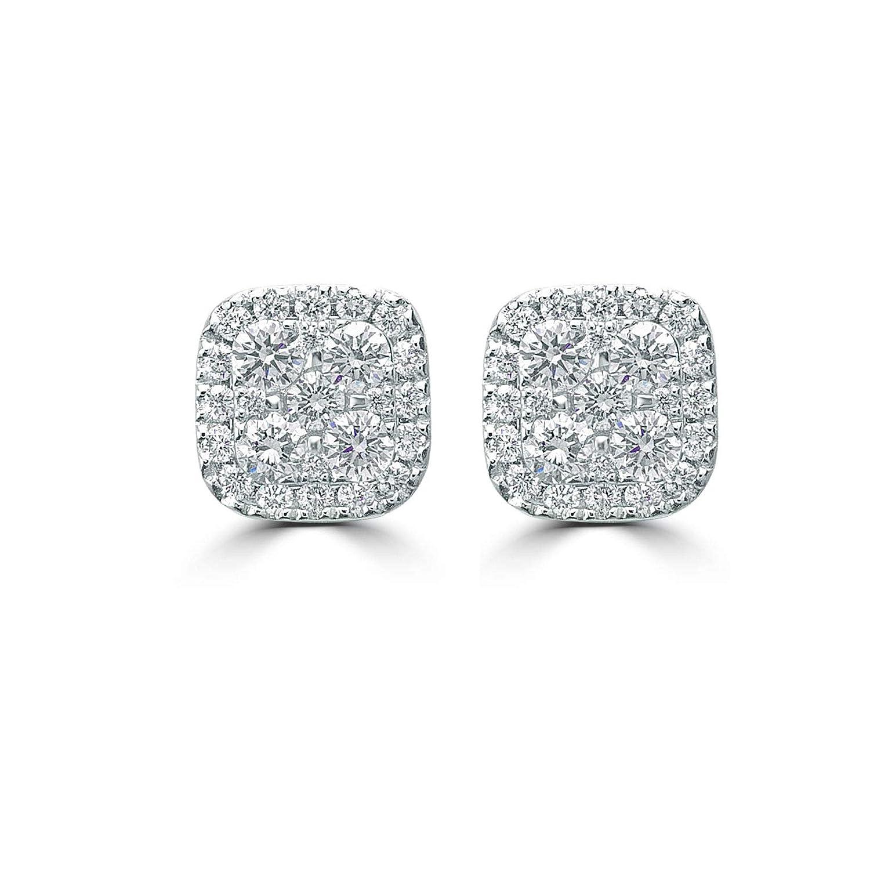 Carat Craft Boucles d'oreilles carrées en or blanc 18 carats