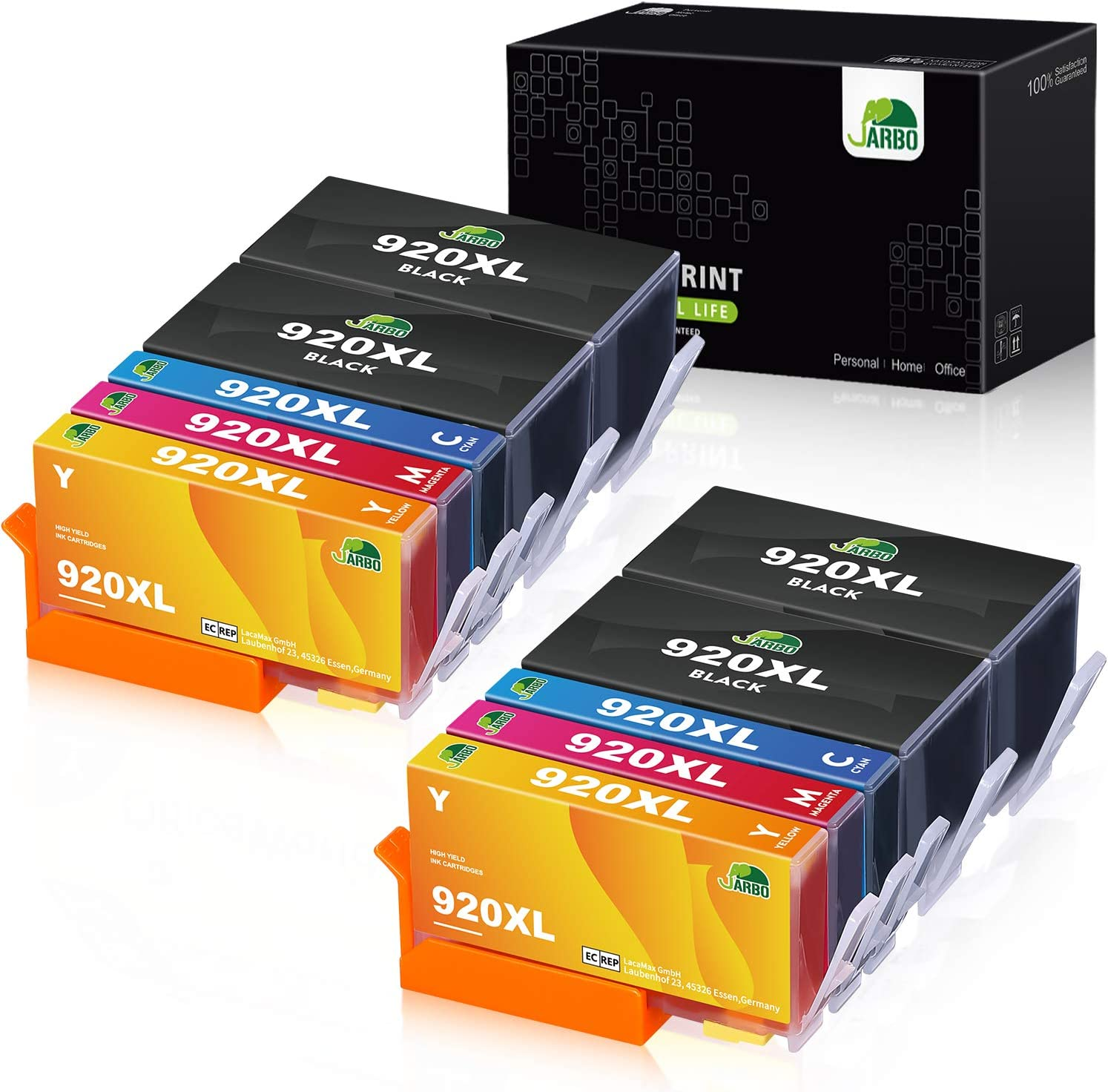 JARBO Compatible Ink Cartridge Replacement for HP 920XL High Yield, 10 Packs (4 Black 2 Cyan 2 Megenta 2 Yellow), Compatible with HP Officejet 6500 6000 7000 7500 6500A 7500A Printer