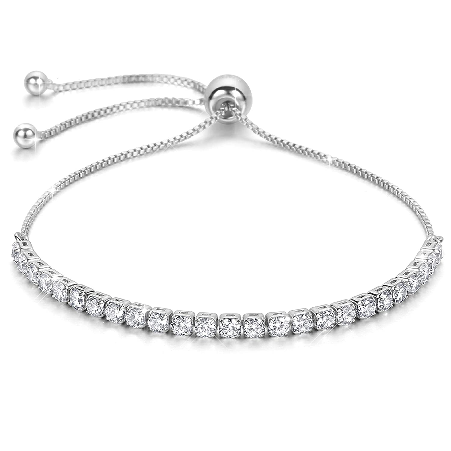e36507d07 J.Fée Sterling Silver Plated Adjustable Bracelet Shining Jewellery with  Gift Box& Meaning Card Simulated Diamond Crystal(D Color, VVS Clarity)
