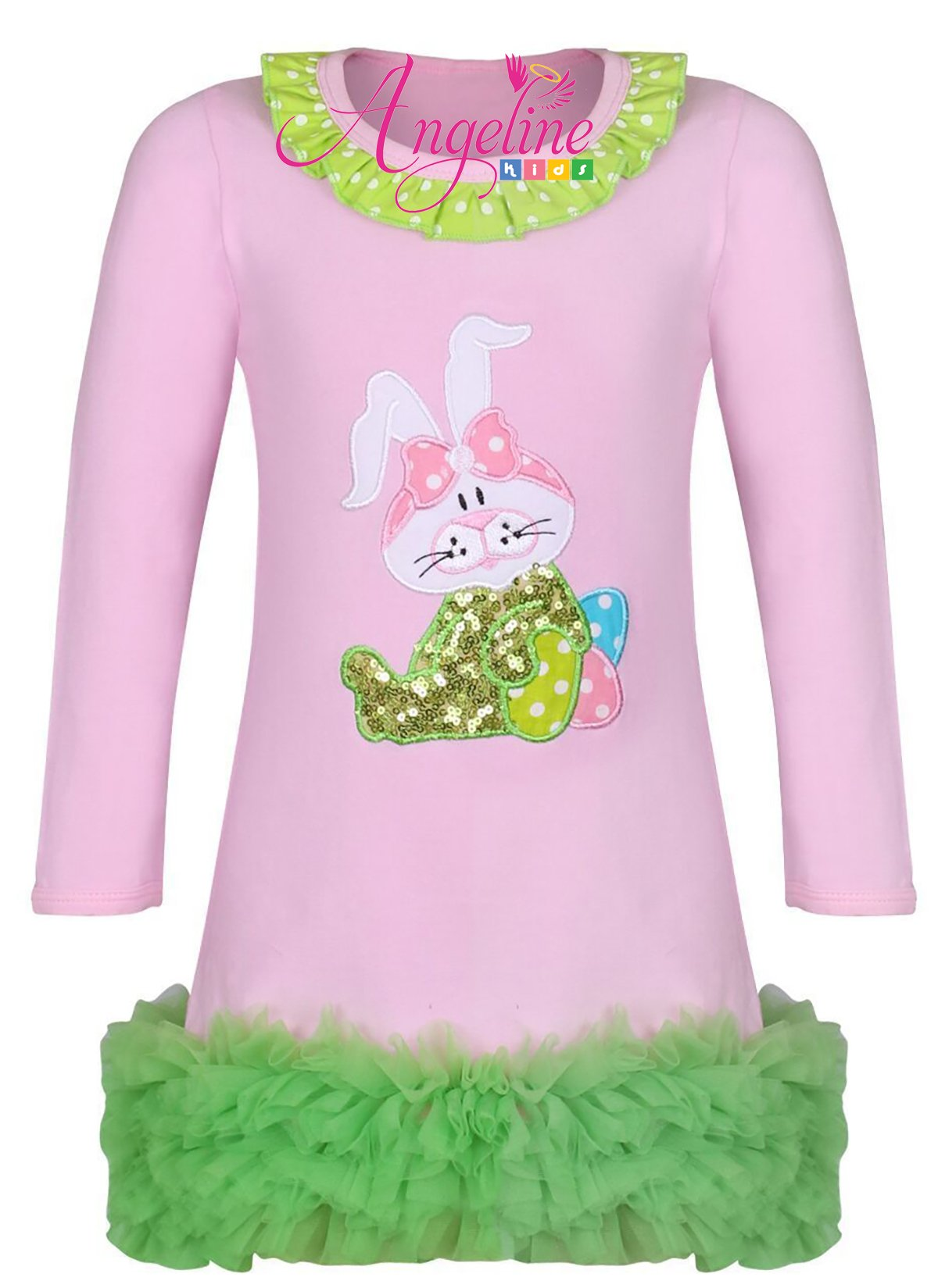 Angeline Boutique Clothing Girls Easter Bunny Ruffles Dress Pink/Green 3T/S