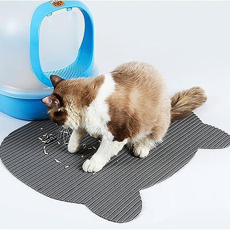 Alfombrilla impermeable antideslizante para arena de gato para comer alimentos y arena para perros y gatos