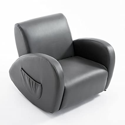 Delicieux Qaba 20u201d Kids PU Leather Rocking Chair   Gray
