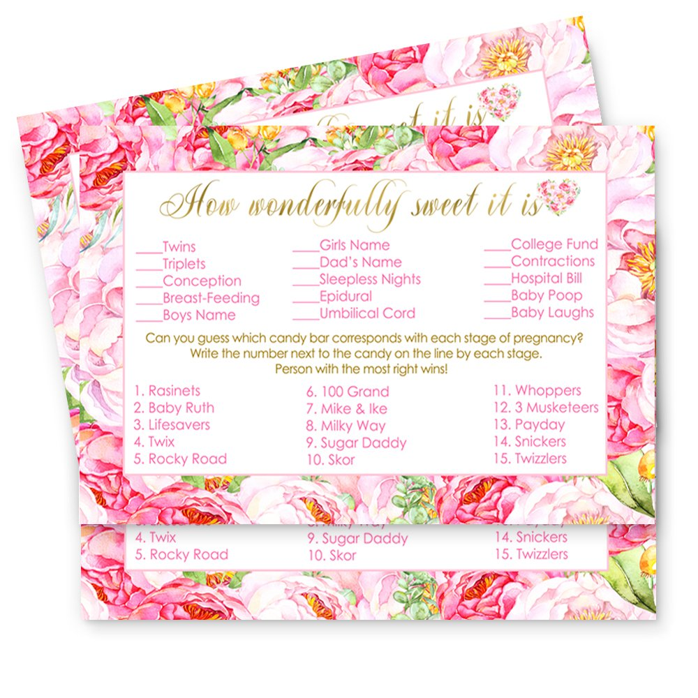 Floral Baby Shower How Sweet It Is Game Cards - 25 Pack