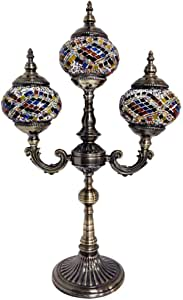 3 Head Turkish Moroccan Table Lamp Handmade Mosaic Glass Desk Lamps Tiffany Style Retro Decorative Night Lights for Bedroom Living Room Cafe Gift Lights, 110-240V(40 X64cm)