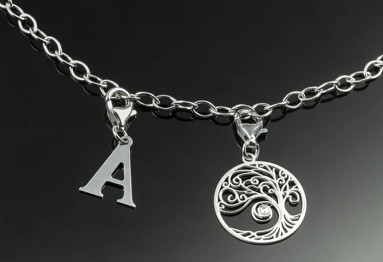 Aka Gioielli/® Pendentif Charm Lettre A en Argent 925 Rhodi/é pour Femme