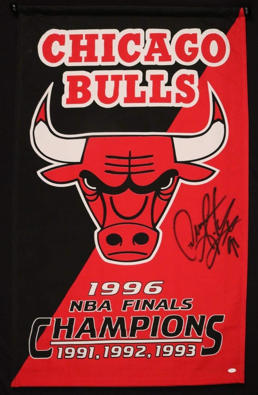 Dennis Rodman Bulls Hof Autographed Signed Memorabilia 1996 Nba Finals 28X48 Banner JSA