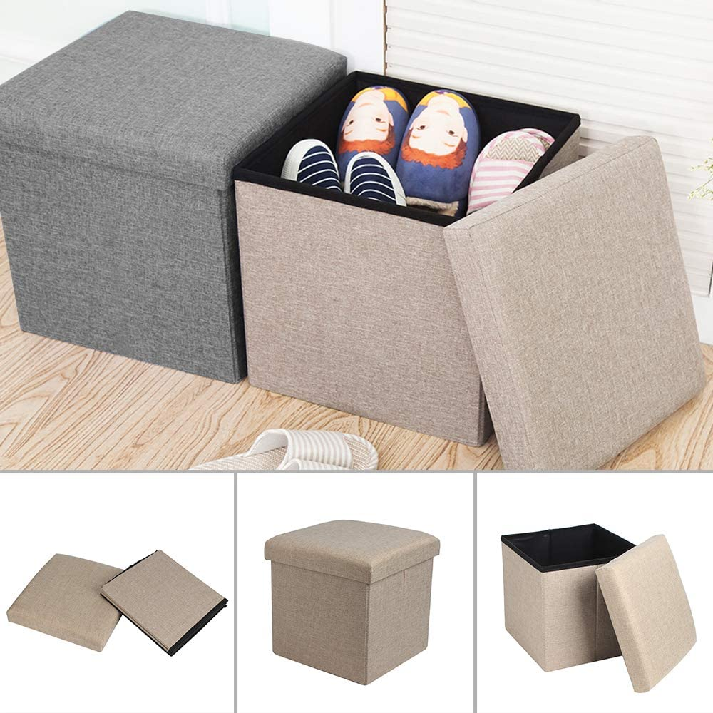Shoze Single Folding Storage Pouffe Cube Foot Stool Seat Ottoman Footstool Toy Box with Removable Lid(Grey) Grey