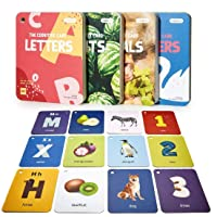 beiens Baby Flash Cards, 48 Pcs Double-Sided ABC 123 Flashcards with Rings Educational Learning Toys for Infants…