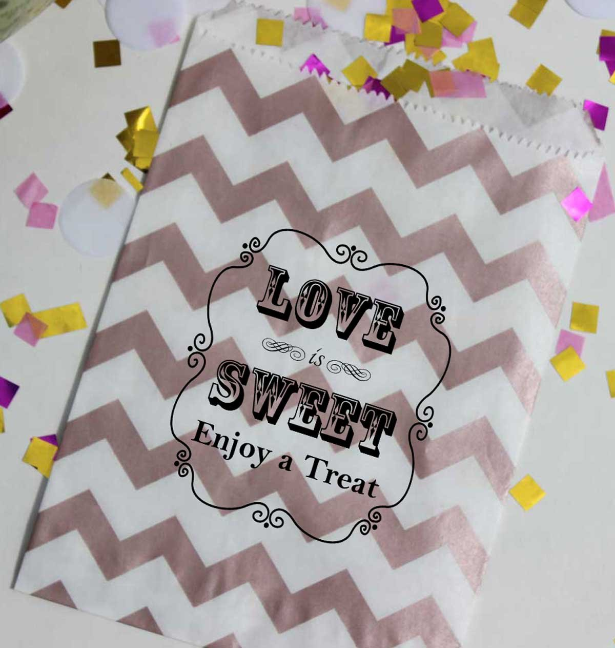Bakers Bling Wedding Party Favor Bags with Stickers, Rose Gold and White Chevron Stripe Love is Sweet Enjoy a Treat Candy Bags, 5.5 x 7.5, Set of 48 Bags and 48 Stickers
