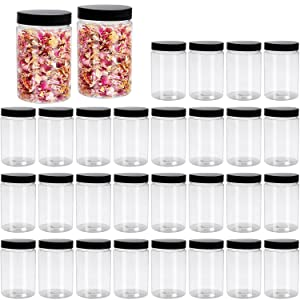 8 oz 30 Pack Plastic Jars, Woaiwo-q Empty Slime Containers with Black Lids for Beauty Products, Slime Making, Food storage and More,BPA Free
