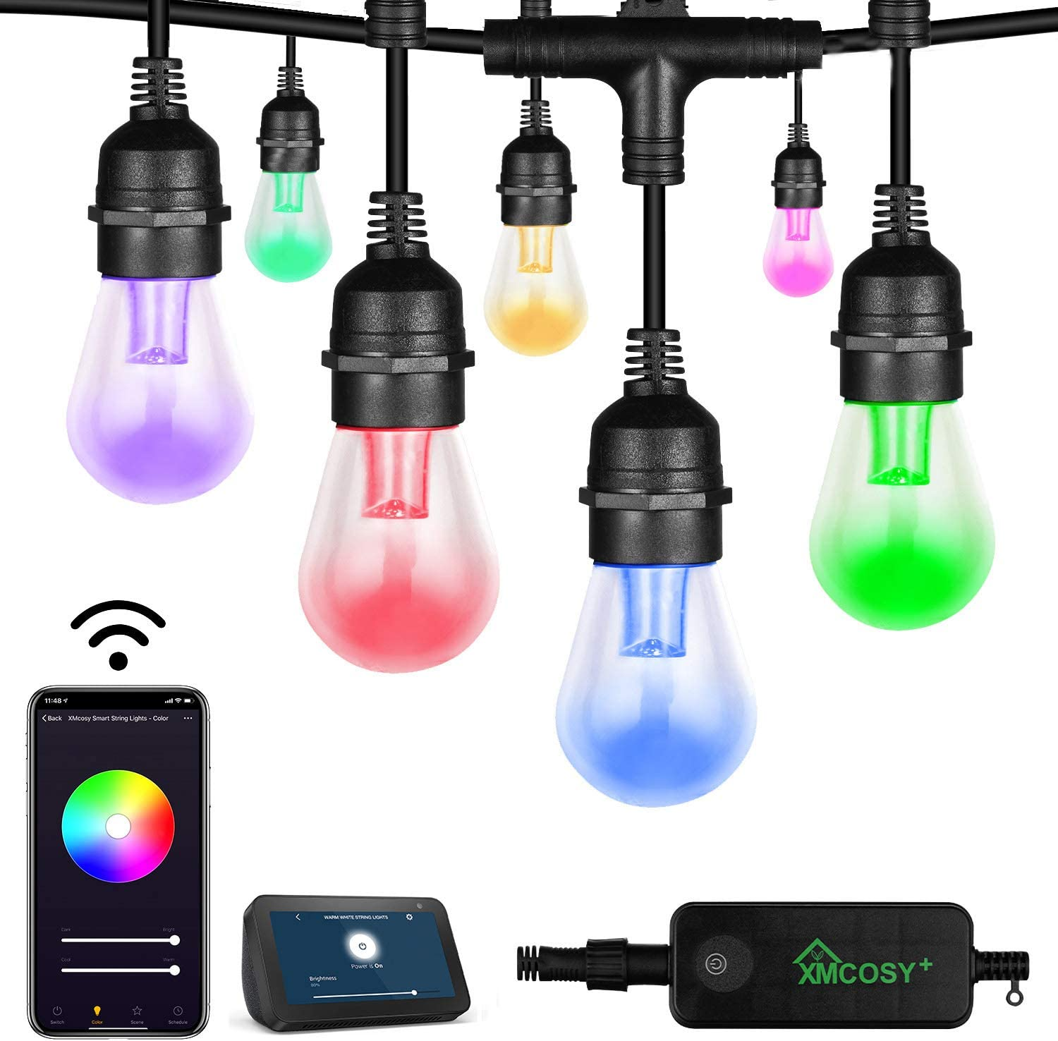 Outdoor String Lights - Patio Lights Color Changing String 15 LED Bulbs, 2.4GHz Wi-Fi App Controlled, Waterproof/Shatterproof 49Ft Extendable Color Wheel & Custom Scene for Occasions Works with Alexa