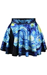 Jiayiqi Women Fashion Printed Casual Skirt Stretchy Flared Pleated Mini Skirt