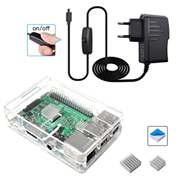 Smraza para Caja Raspberry Pi 3 b+ con Cargador + 2 x Disipador + Cable Micro USB con Conector ON/Off Compatible con Carcasa Raspberry Pi 3 2 Model b+ ...