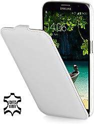 StilGut Étui ultra fin, étui en cuir pour Samsung Galaxy Mega 6.3I9200Mega LTE i9205I9208, blanc