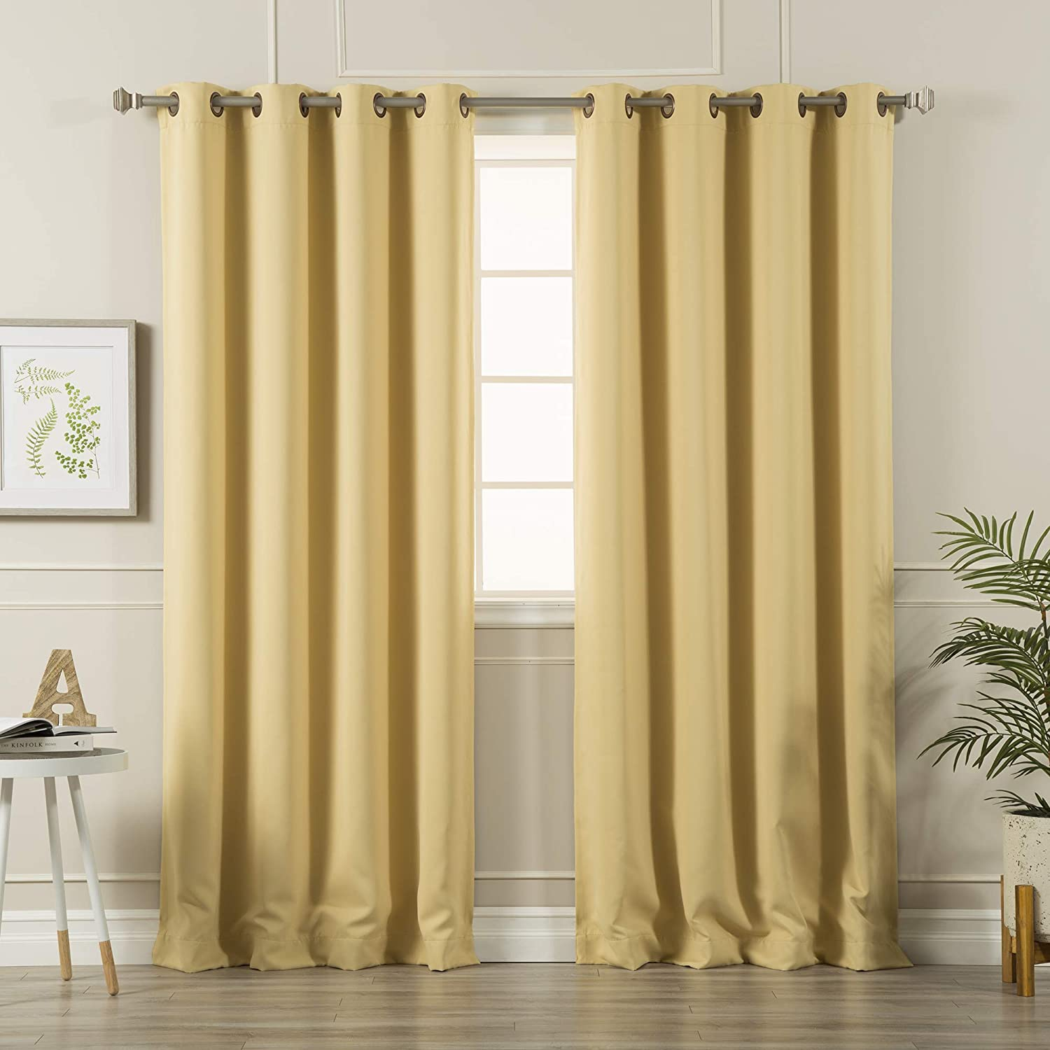 "Best Home Fashion Blackout Curtain Panels - Premium Thermal Insulated Window Treatment Blackout Drapes for Bedroom - Antique Bronze Grommet Top – Sunlight - 52"" W x 96"" L - (Set of 2 Panels)"