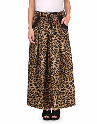 def0436b61 NATTY INDIA Brown Animal Print Crepe Straight Skirt: Amazon.in: Clothing &  Accessories