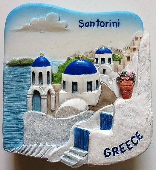 Santorini Grecia resina 3d imán para nevera.: Amazon.es: Hogar