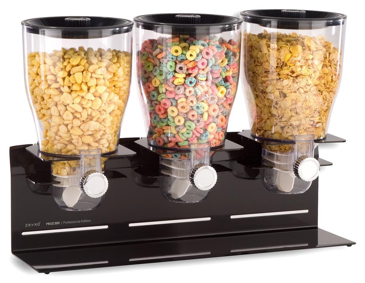 Zevro Triple Food Dispenser, 1 Gallon Each, Counter or Wall Mount, Portion Control - Black