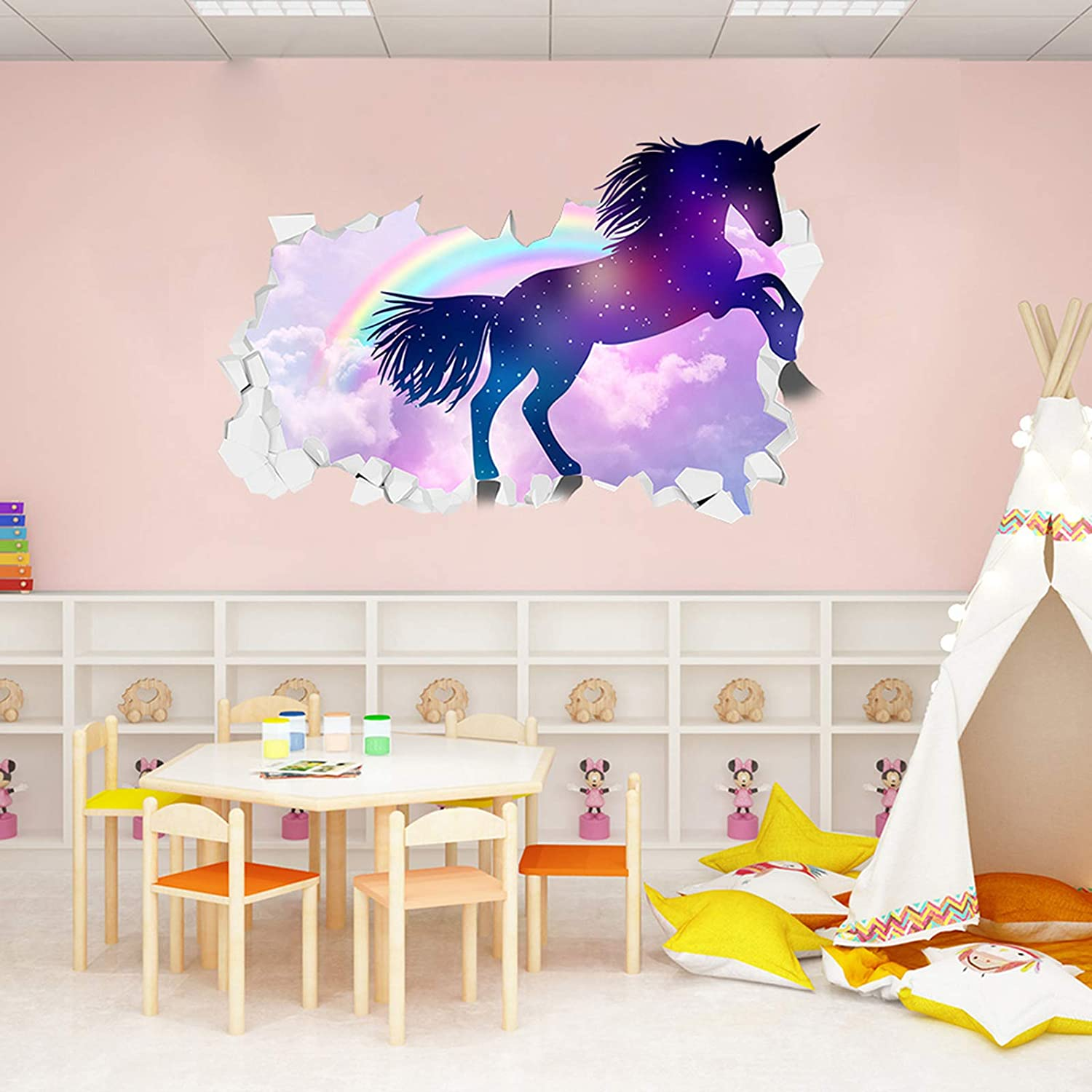 Rainbow Unicorn Wall Decal Stickers Personality Breaks The Wall Home Decor for Girls Kids Bedroom Nursery