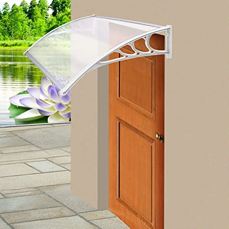 Parkland Door Canopy Awning Shelter Front Back Porch Outdoor Shade Patio Roof White