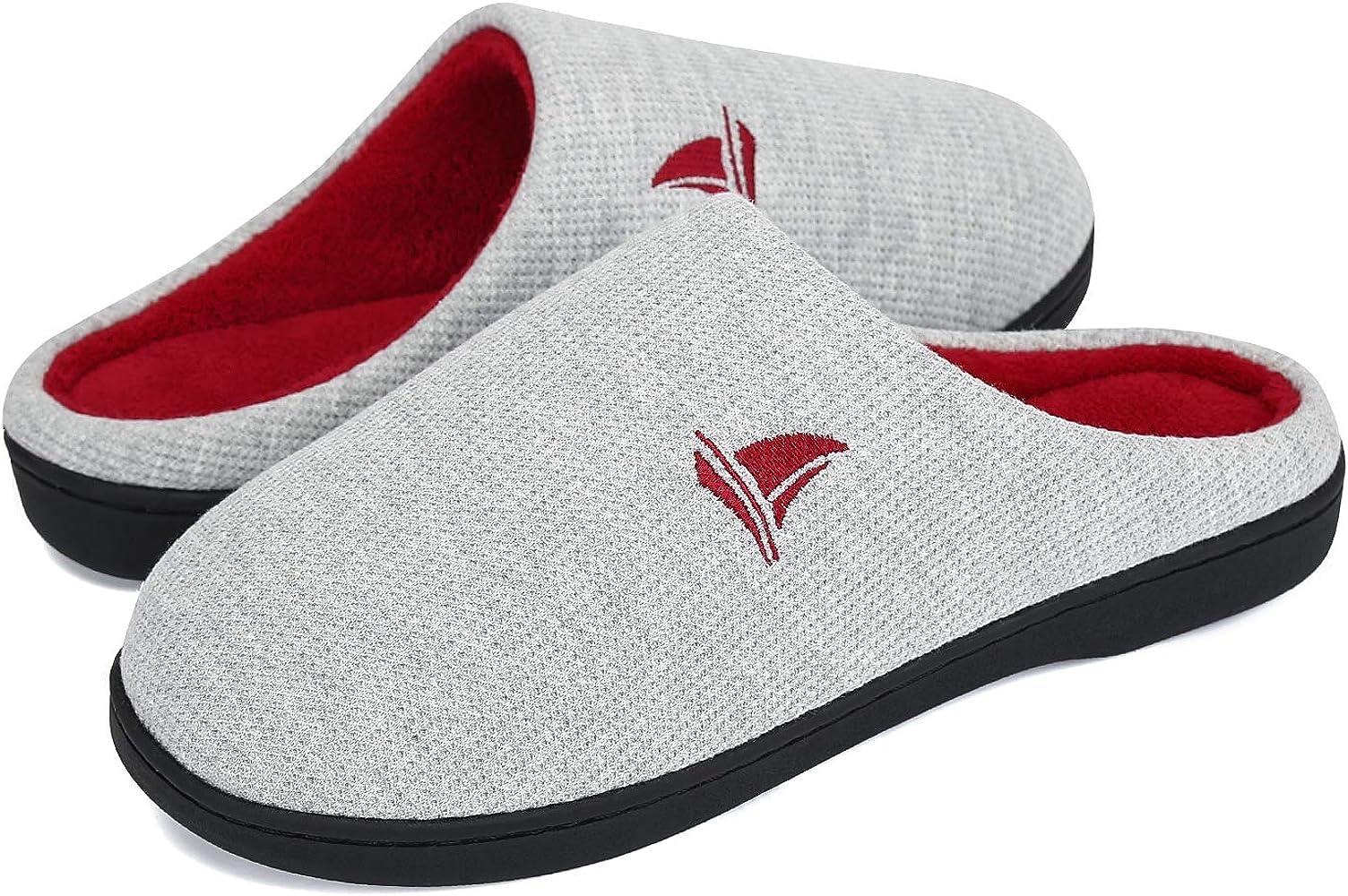 Voovix Zapatillas de casa de Hombre Zapatilla de Estar por casa(Gris/Rojo,36/37): Amazon.es: Zapatos y complementos
