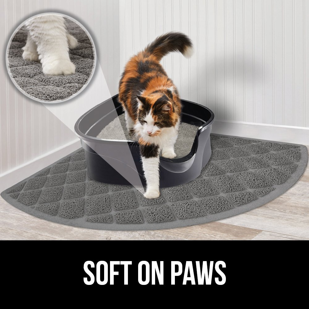 Gorilla Grip Original Premium Durable Cat Litter Mat No Phthalate XL Jumbo Mats Soft on Kitty Paws Traps Litter from Box and Cats Scatter Control Water Resistant Easy Clean Mats