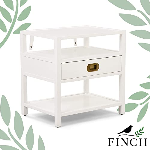 Finch Lockwood Modern 2-Tier Wood Campaign Side Table, Bedside Nightstand with Storage Shelf with 1 Drawer, Living Room Accent, White
