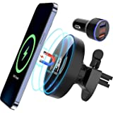 KKM Magnetic Wireless Car Charger for iPhone 12/12 Pro/12 Mini/12 Pro Max, 15W Fast Car Charger Mount Compatible with Magsafe
