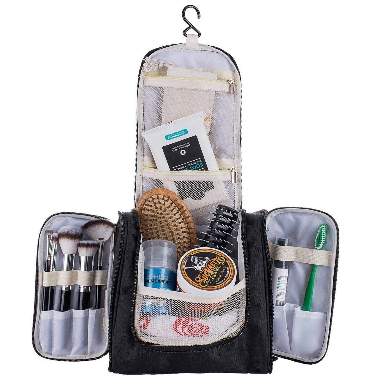 Travel Toiletry Hanging Bag – Store Cosmetic Makeup for Women, or Shaving Kit for Men, This Large Travel Essential Organizer Is Great for Personal Items, Shampoo, Shaving Accessories Body Wash