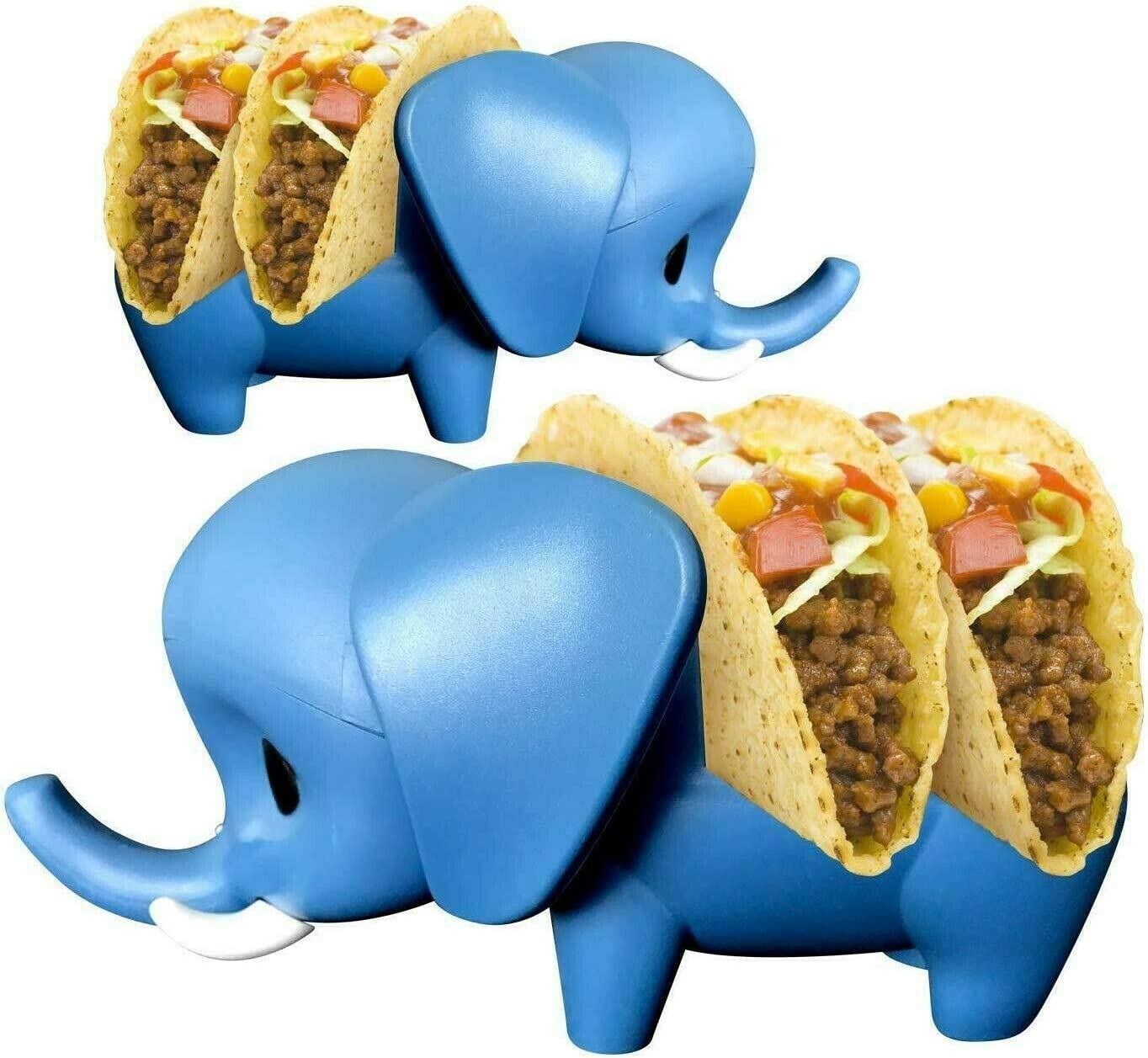 Set of 2 Elephant Taco Holder Tray Kids Mexican Food Cute Taco Stand Rack Display