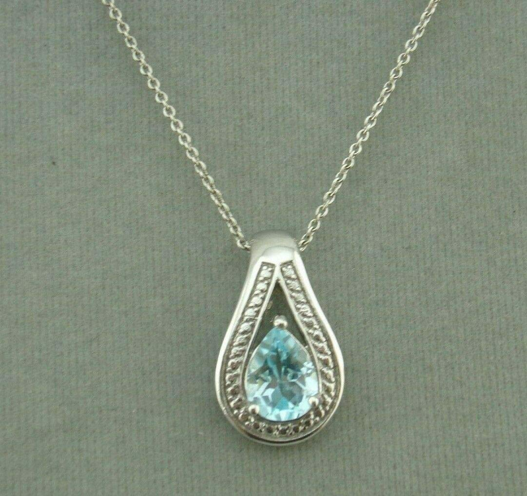 Blue Topaz Necklace For Women Pendant Silver Jewelry NEW