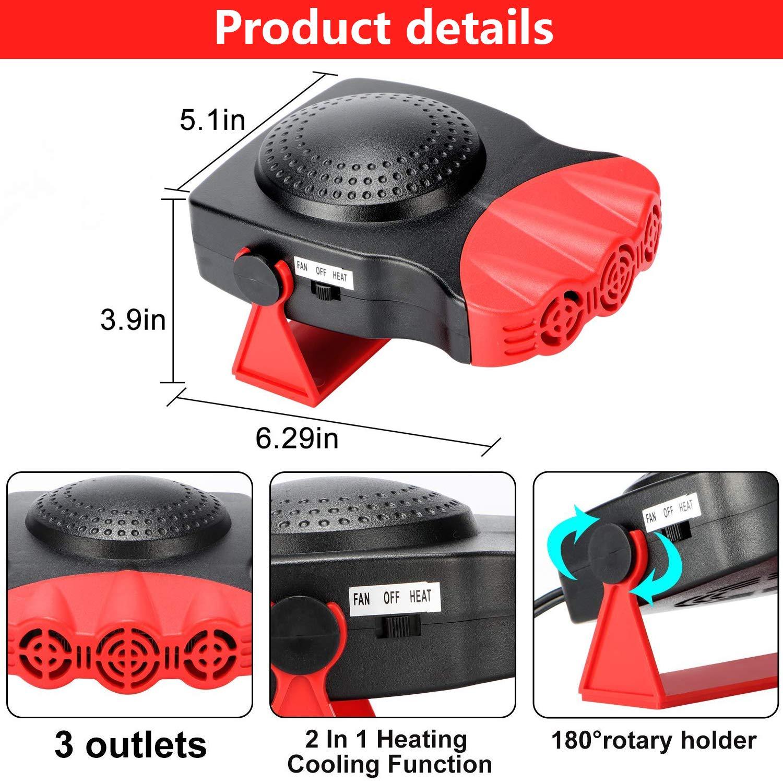 potente ventilatore elettrico con raffreddamento//riscaldamento presa accendisigari sbrinatore per parabrezza con riscaldamento rapido e basso rumore riscaldatore per auto 12 V 150 W