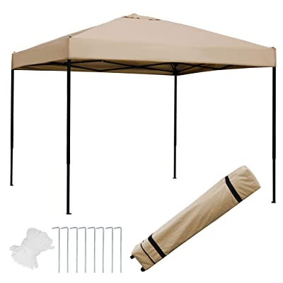 Blissun 10 x 10 Ft Outdoor Portable Pop-Up Canopy Tent with Roller Bag (Tan) : Garden & Outdoor