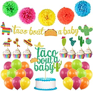 UTOPP Taco Bout a Baby Decorations Kit,Taco Bout a Baby Banner Llama Cactus Cake Topper Balloons for Mexican Fiesta Baby Shower Supplies, Taco Birhthday Party Decor