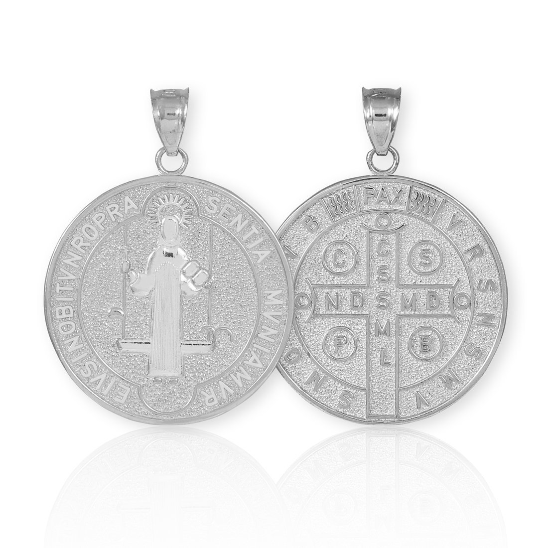 925 Sterling Silver Saint Benedict Medal Protection Pendant Necklace 0.93 Inch in Diameter