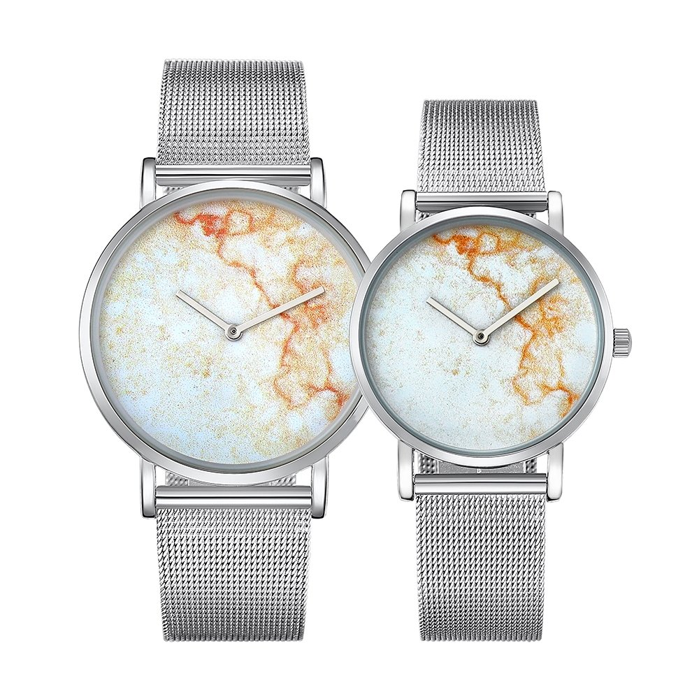 Dig dog bone 6812 Round Dial Alloy Silver Case Fashion Couple Watch Men & Women Lover Quartz Watches With Stainless Steel Band (SKU : Wa0724a)