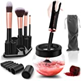 Urban Butterfly Electric Makeup Brush Cleaner Spinner, Deep Cosmetic Brush Cleaner Mat with 8 Size Rubber Collars, Black