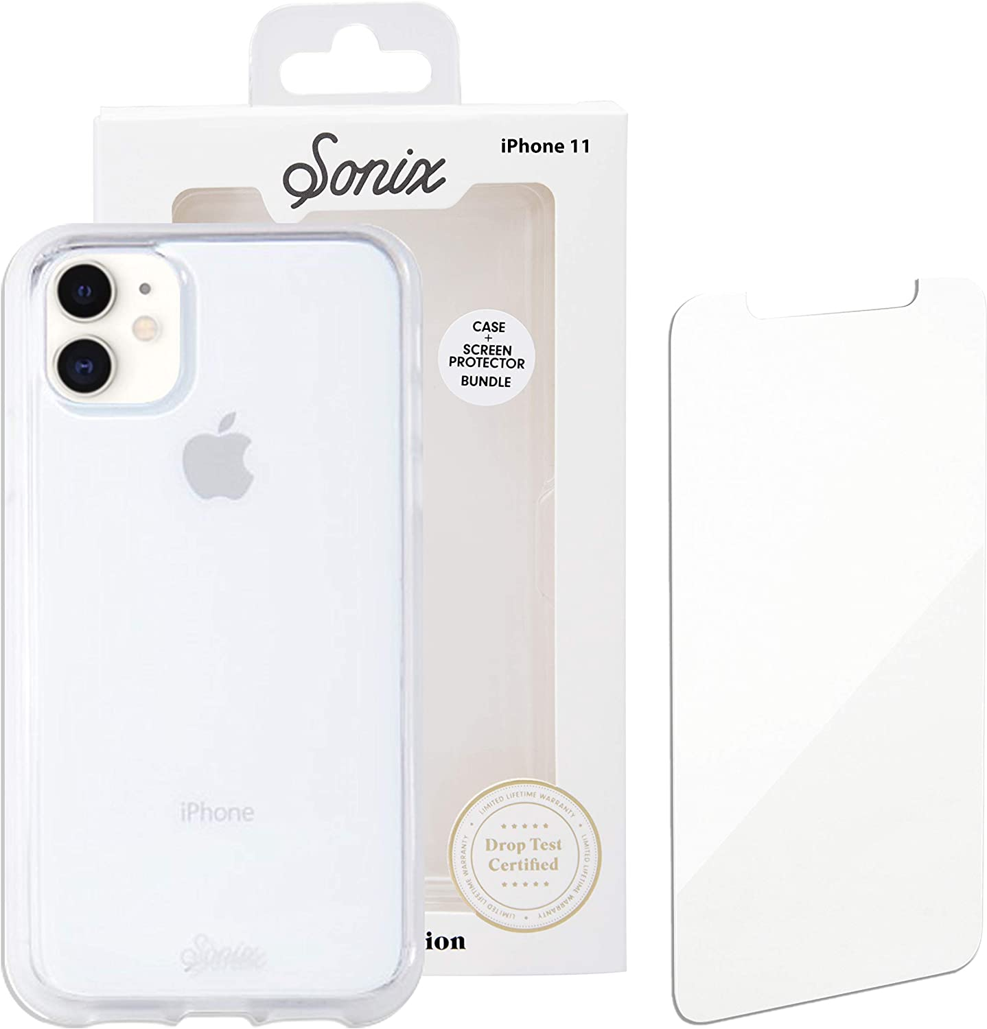 Sonix Clear Case for iPhone 11 and Tempered Glass Screen Protector Clear Case and Screen Protector Bundle Pack for Apple iPhone 11 10ft Drop Tested