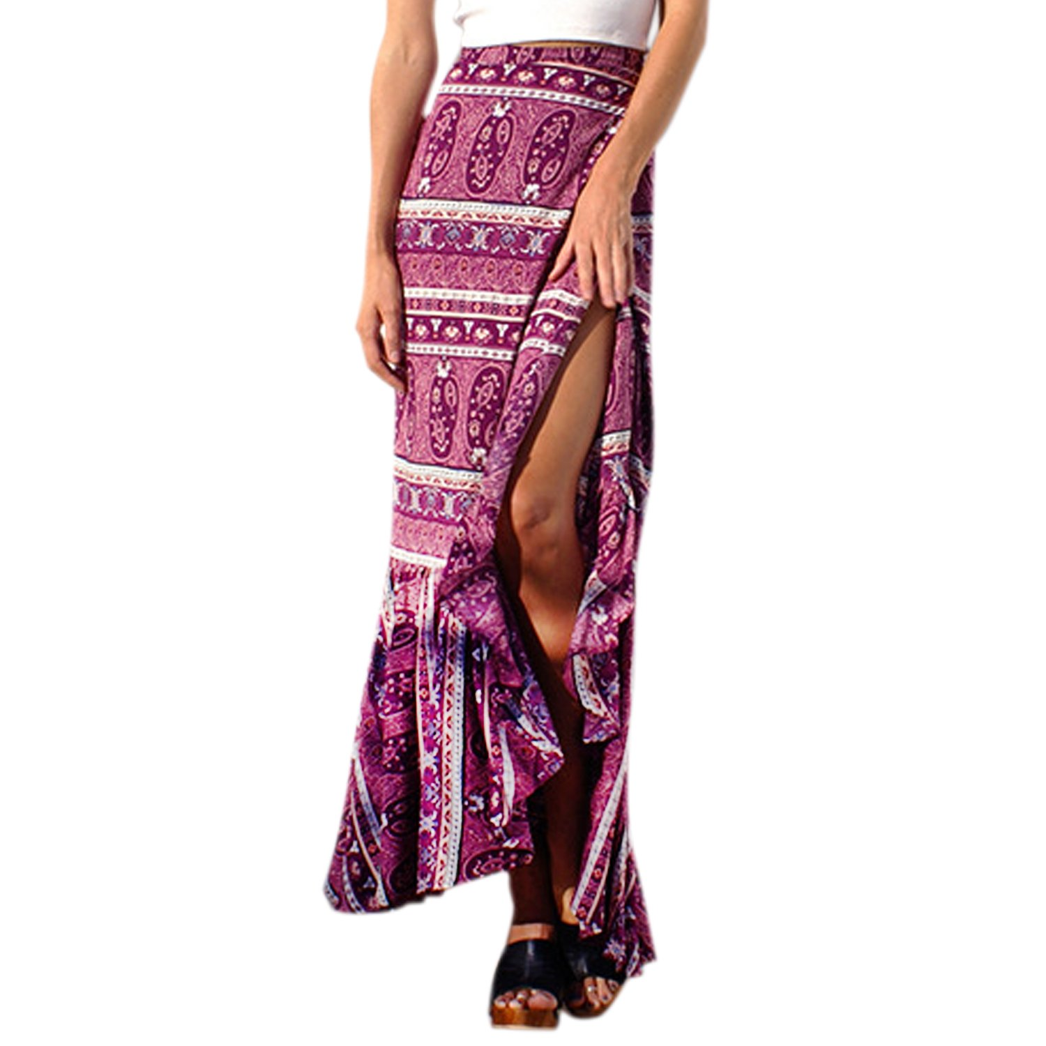 StarTreene Womens Boho Dresses Floral Tie up Waist Summer Beach Wrap Maxi Skirt StaraTreene