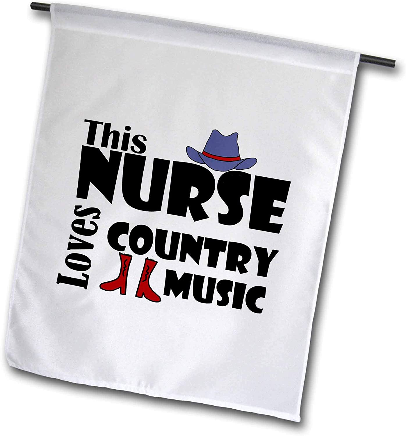 3dRose All Smiles Art - Music - Cool Funny This Nurse Loves Country Music with Cowboy hat and Boots - 12 x 18 inch Garden Flag (fl_308366_1)