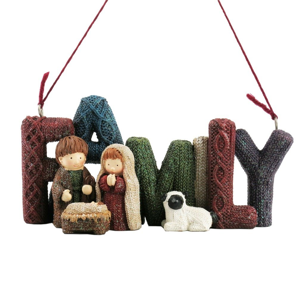 Lee's Home Nativity Knitting Finish ''Family'' with Holy Family Ornament