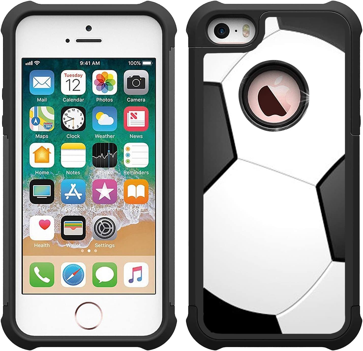 OptiCase iPhone 5 Case, iPhone 5S, iPhone SE Case - Soccer Printed Heavy Duty Hybrd Shockproof Unique Designer Case with Great Protection for iPhone 5 / iPhone 5S / iPhone SE