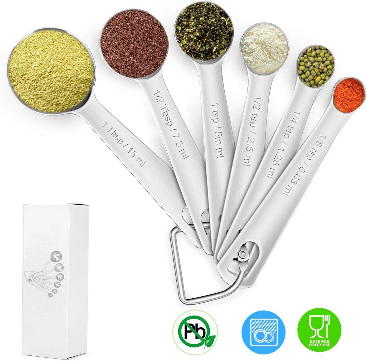 Elokipoe 18/8 Stainless Steel Measuring Spoon, Accurate Measuring Spoons with D-ring, 304 Stainless Steel Measure Spoons for Food, Spice, Jar, Milk, Dry or Liquid, Measure Spoons Set, Dishwasher Safe