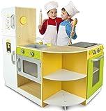 Leomark Cucina Exclusive FleX Concept Giocattolo per Bambini Gioco in Legno Giocare d'imitazione Nuovo Accessori per cucina Dimensioni: 138 x 34 x 98,5 cm Educazione Tavola Fornello Divertimento