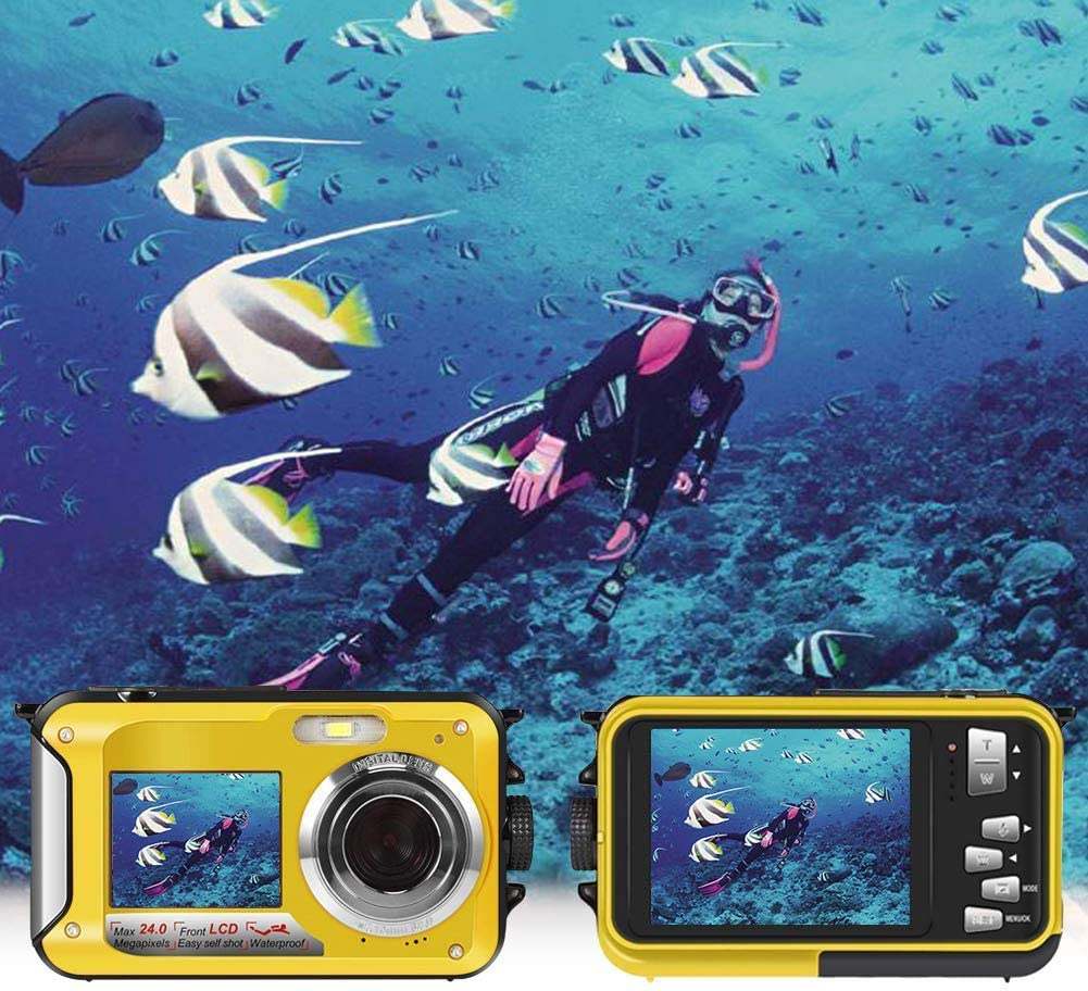 Underwater Camera Dual Screen 2.7K 24MP Waterproof Digital Camera HD Rechargeable Camera for Snorkeling, Camping, Underwater, Swiming (Yellow)
