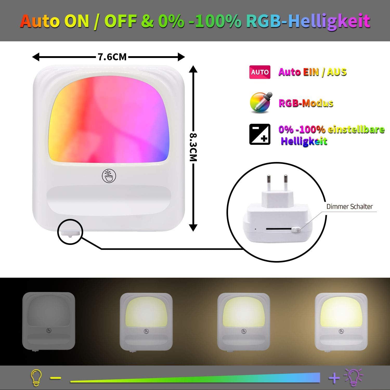 8 Farbe RGB Nachtlicht Baby mit D/ämmerungssensor Schlafzimmer LED Nachtlicht Steckdose onehous Treppenaufgang Zweite Generation Helligkeit Stufenlos Einstellbar f/ür Nachttischlampe,Kinderzimmer