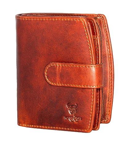 pranke compacta Cartera para mujer monedero (cerrojo de Antiguo piel marrón Vaca Cartera Dinero Bolsa