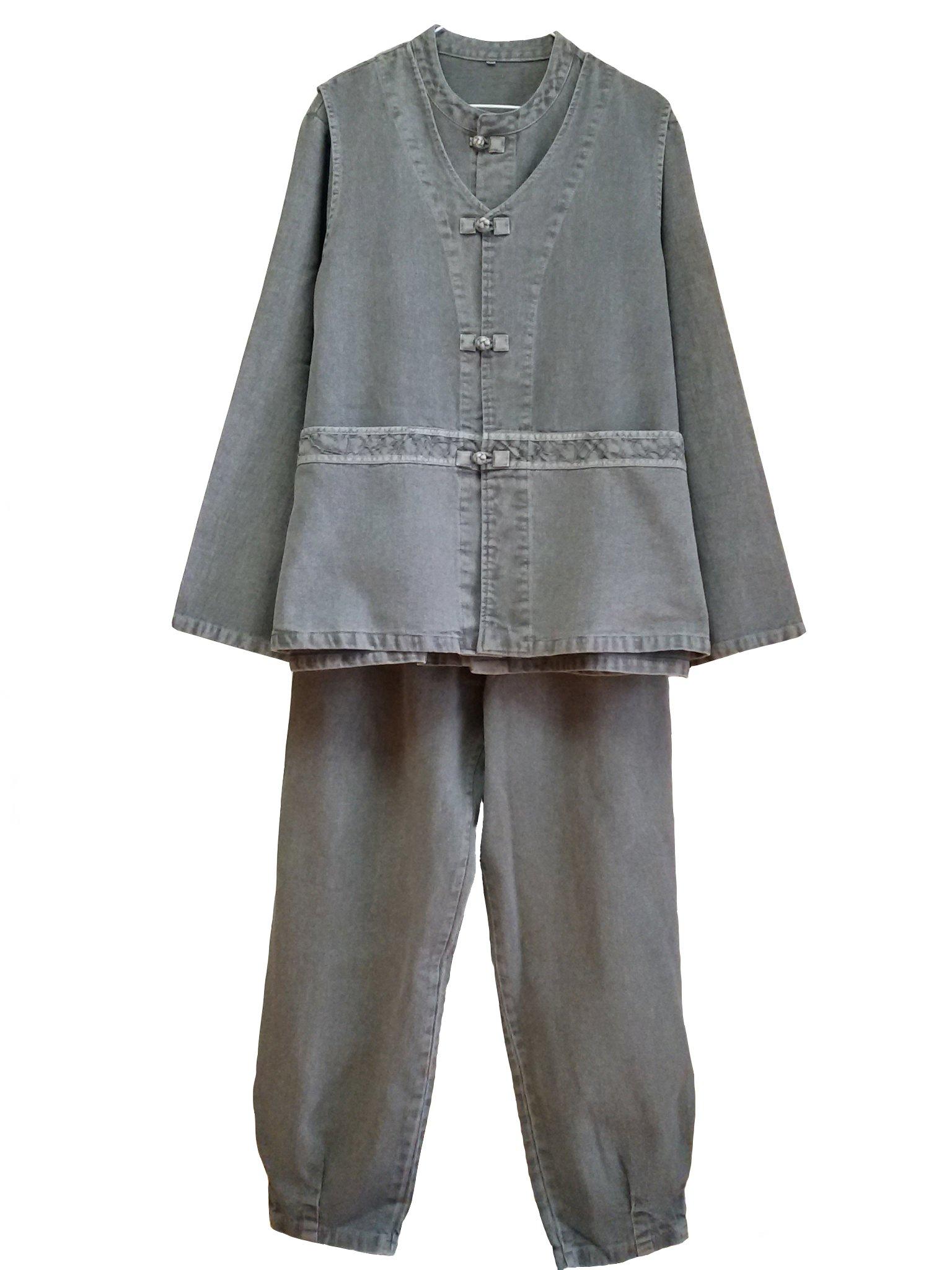 Altair Men Women Cotton 100% Jacket or Vest or Pants Buddhist Zen Meditation Temple Clothing (gray vest, L)