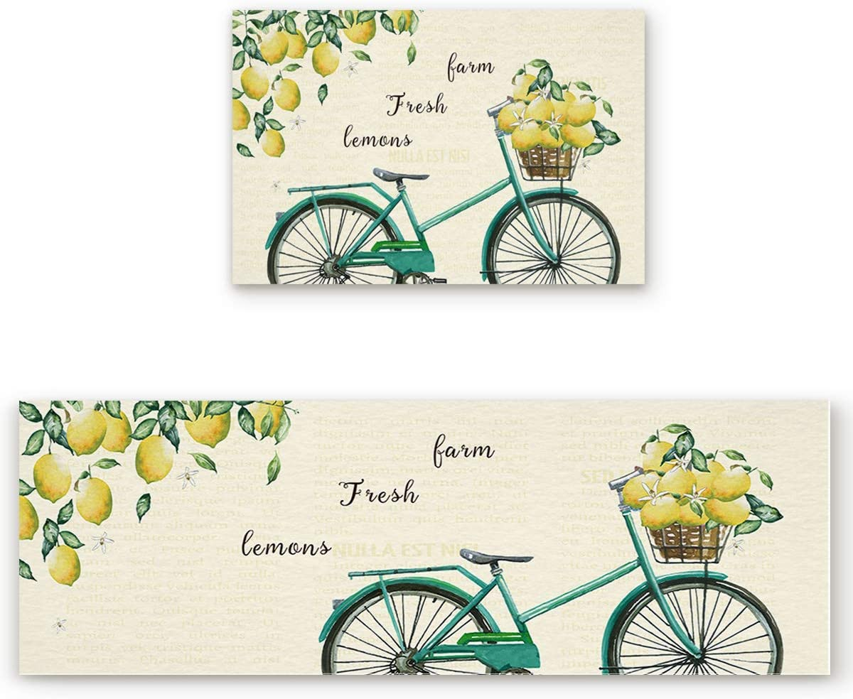 Z&L Home Farm Summer Lemon Fruit Country Bicycle Kitchen Rug Sets 2 Piece Floor Mat Non-Slip Rubber Backing Area Runners Door Mats, Retro Back Indoor Washable Carpet